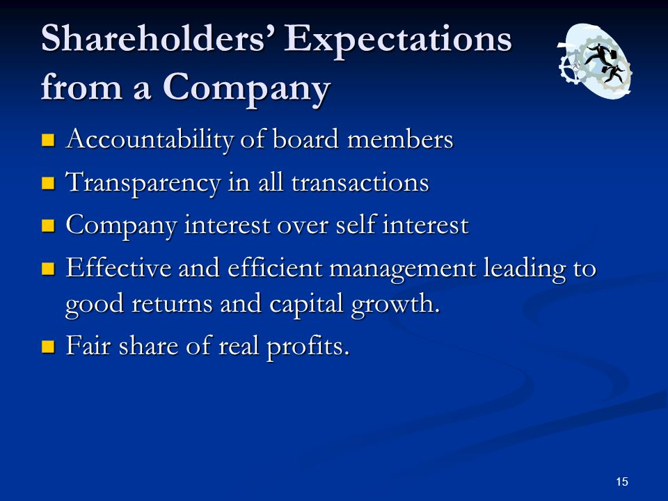 Shareholders' Expectations from a Company