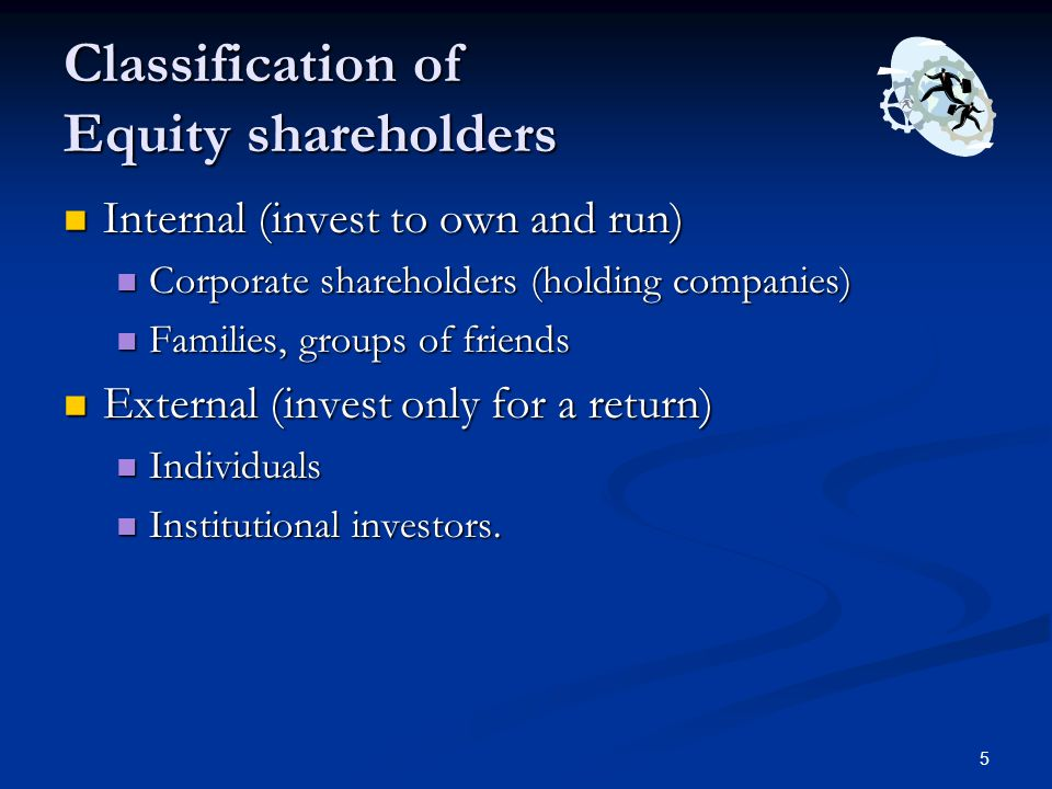 Classification of Equity shareholders