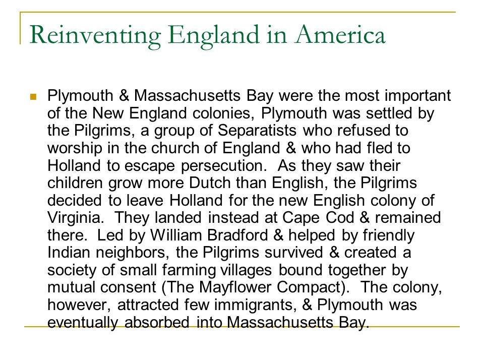 Reinventing England in America