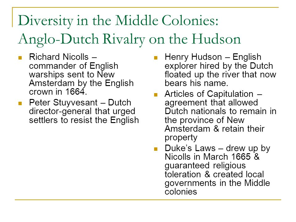 Diversity in the Middle Colonies: Anglo-Dutch Rivalry on the Hudson