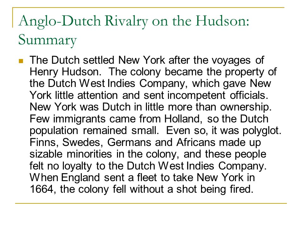 Anglo-Dutch Rivalry on the Hudson: Summary