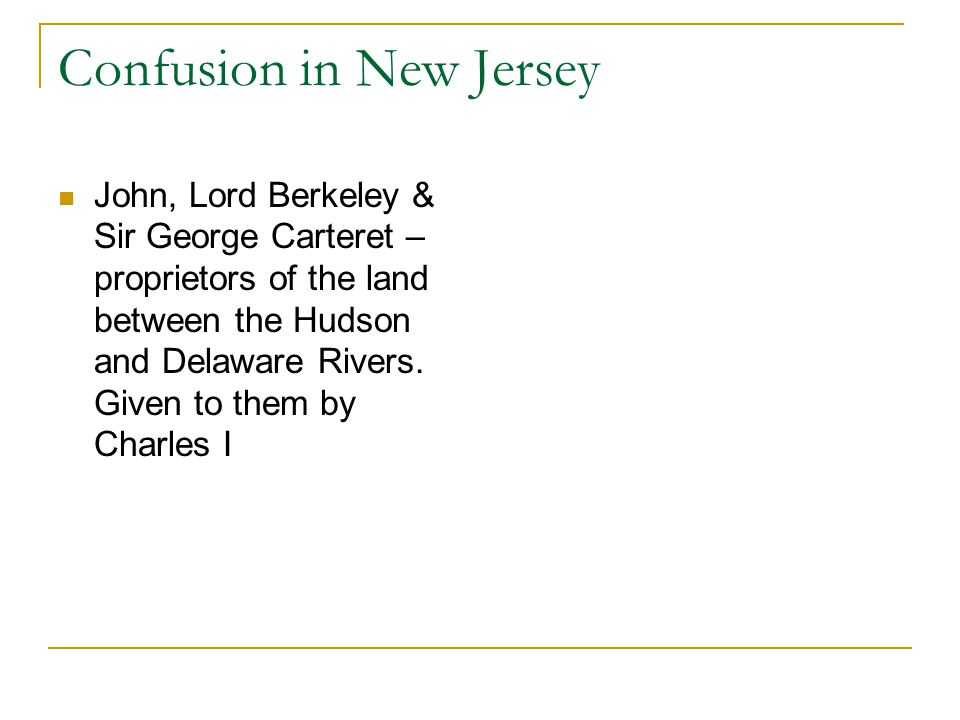 Confusion in New Jersey