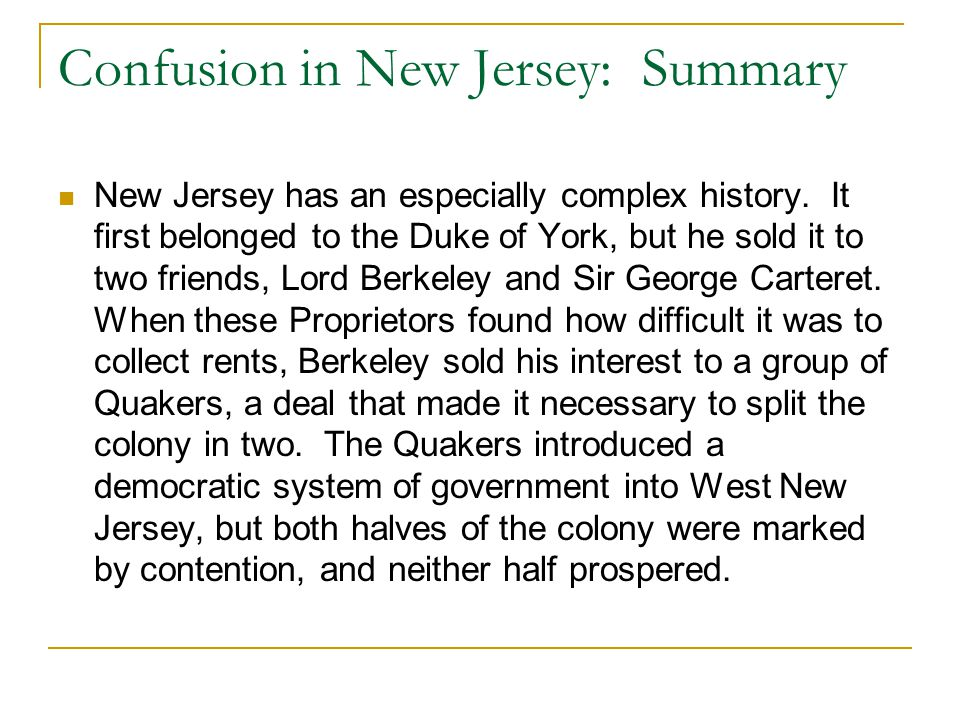 Confusion in New Jersey: Summary