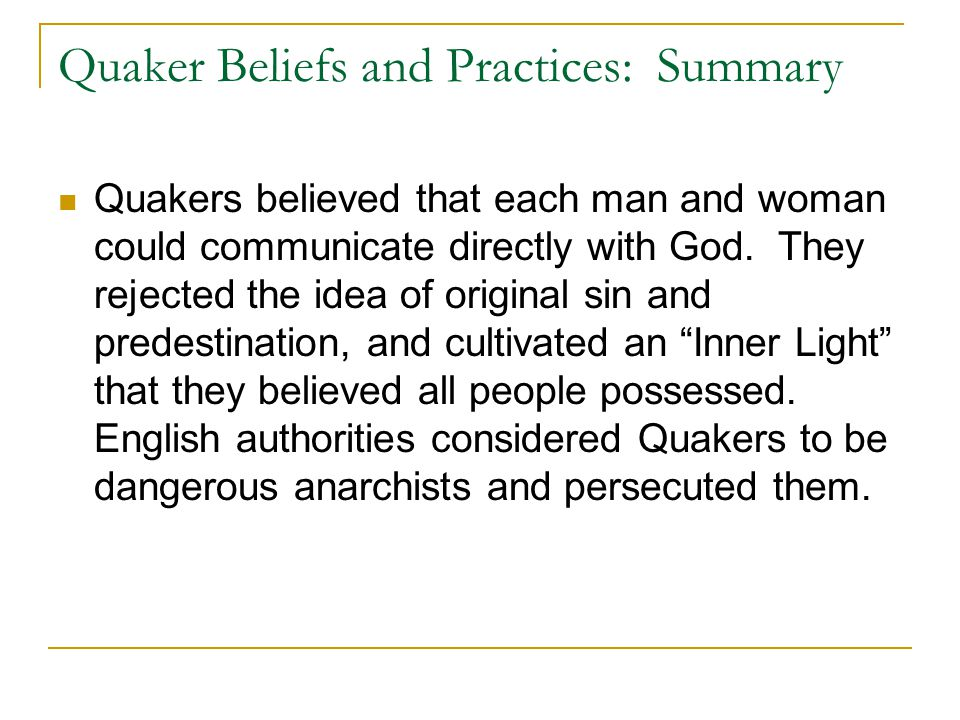 Quaker Beliefs and Practices: Summary