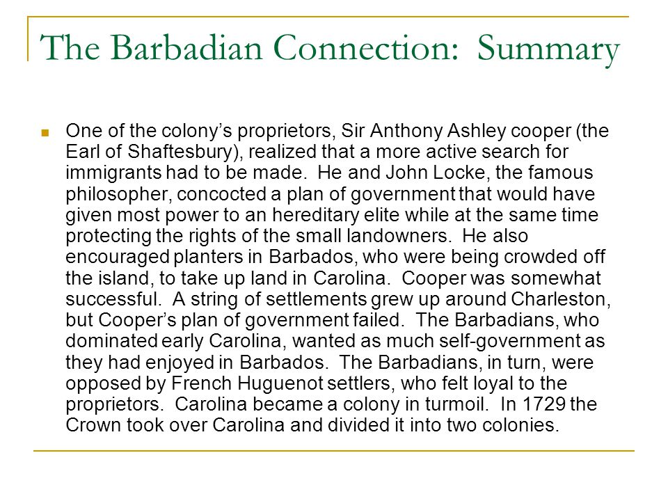 The Barbadian Connection: Summary