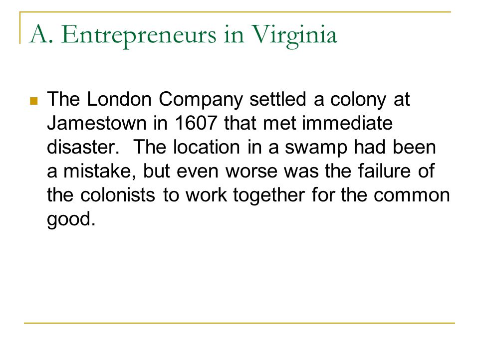 A. Entrepreneurs in Virginia