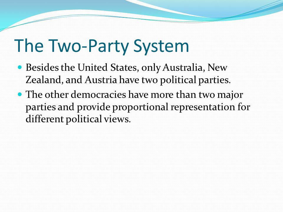 The Two-Party System Besides the United States, only Australia, New Zealand, and Austria have two political parties.