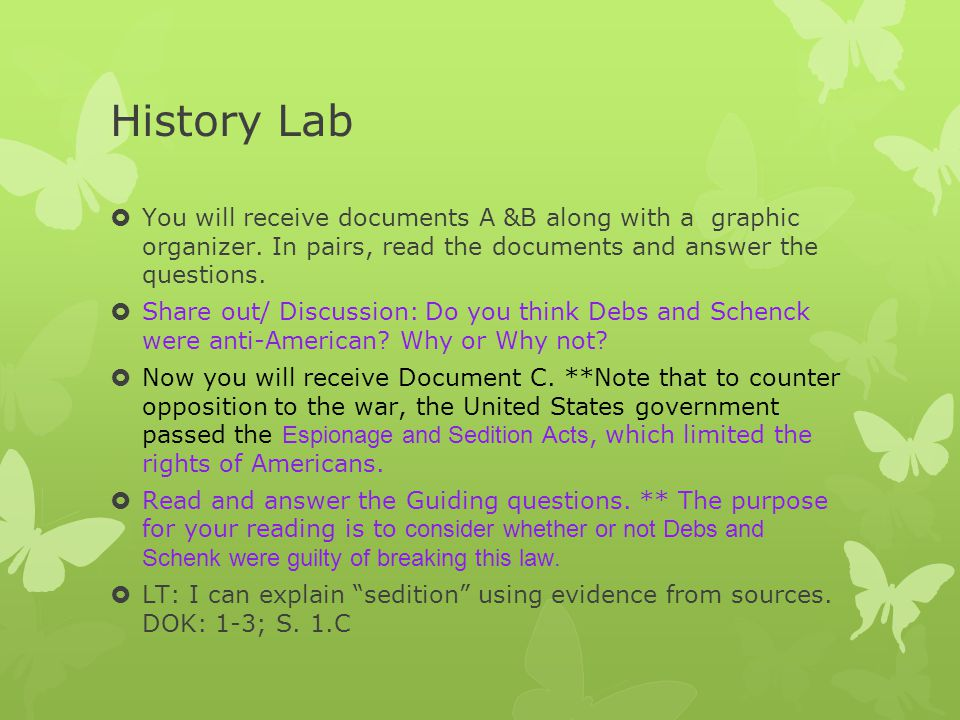 History Lab You will receive documents A &B along with a graphic organizer. In pairs, read the documents and answer the questions.
