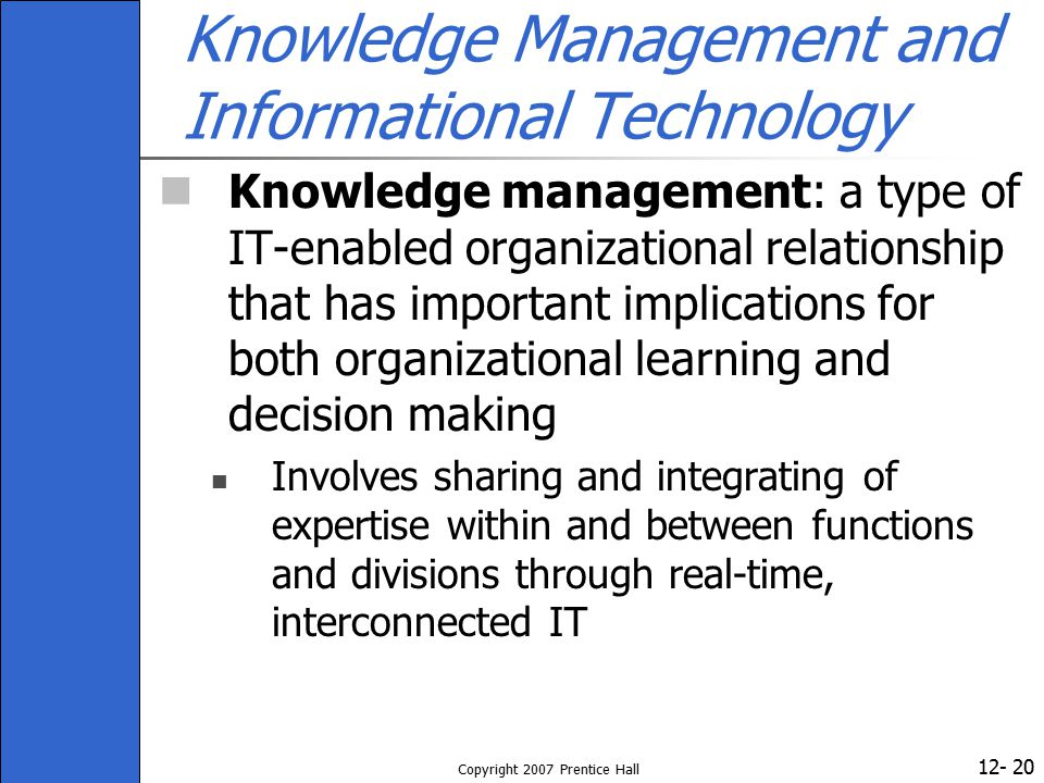 Knowledge Management and Informational Technology