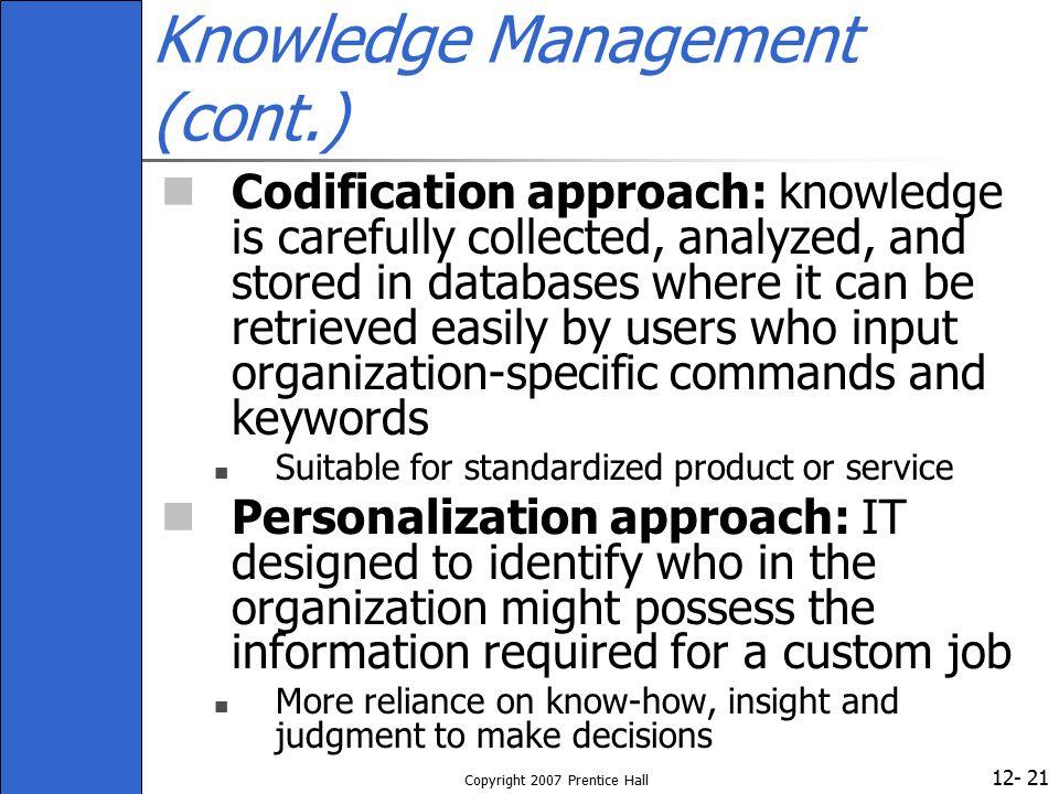Knowledge Management (cont.)