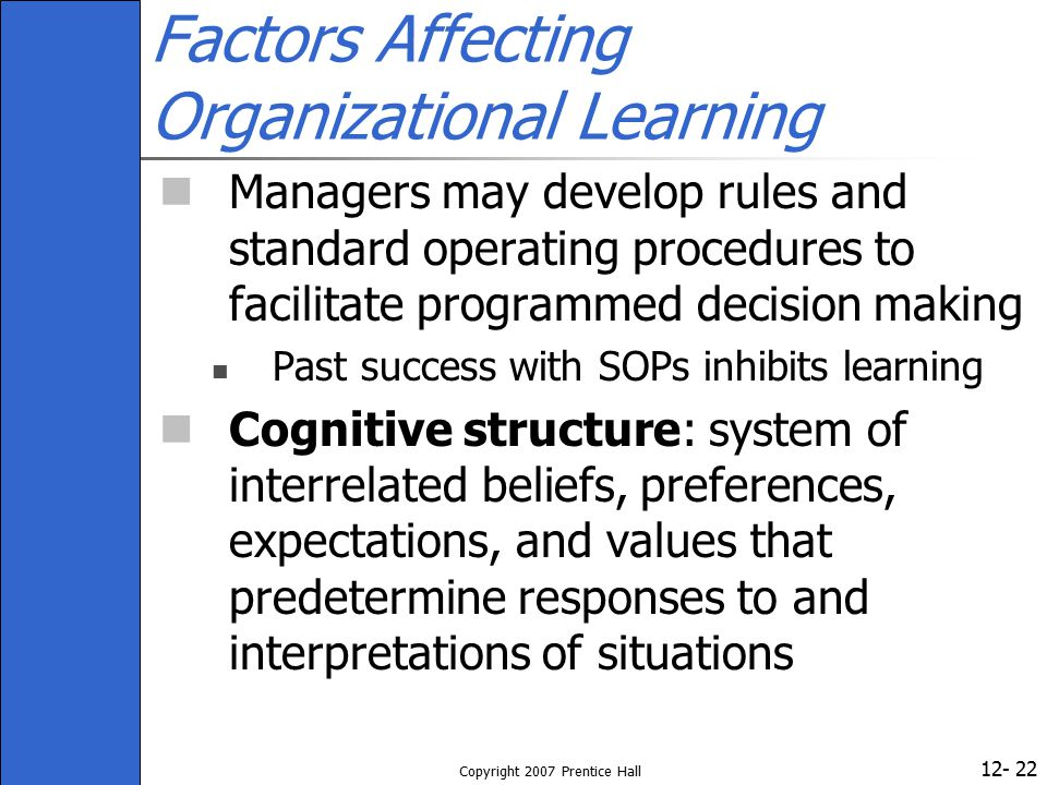 Factors Affecting Organizational Learning