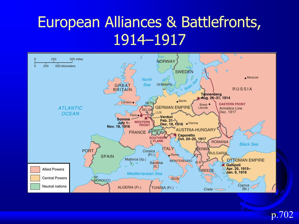 European Alliances & Battlefronts, 1914–1917