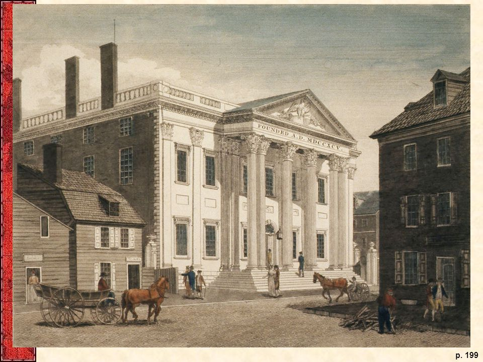 The First Bank of the United States, constructed in the mid-1790s, as the building looked in Philadelphia in 1800. Its classical solidity visually concealed its contentious political origins.