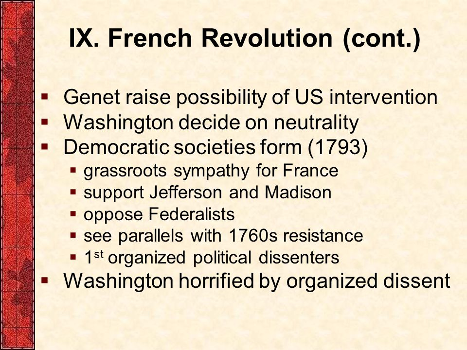 IX. French Revolution (cont.)