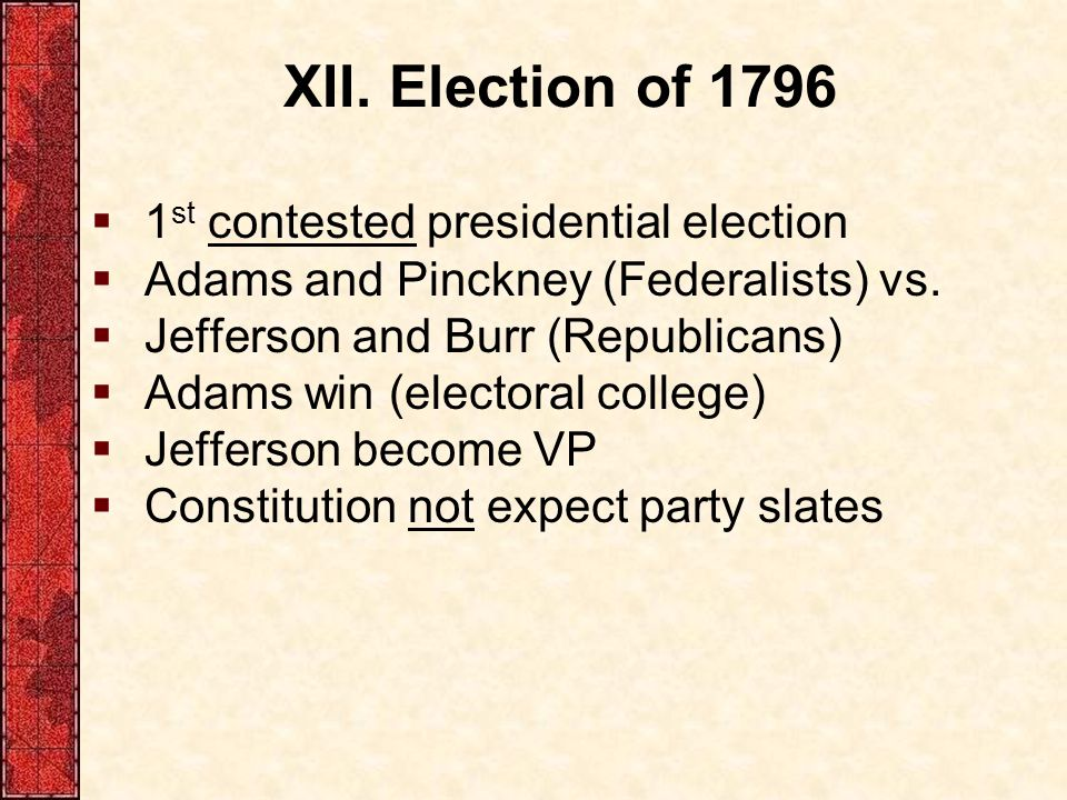 XII. Election of 1796 1st contested presidential election