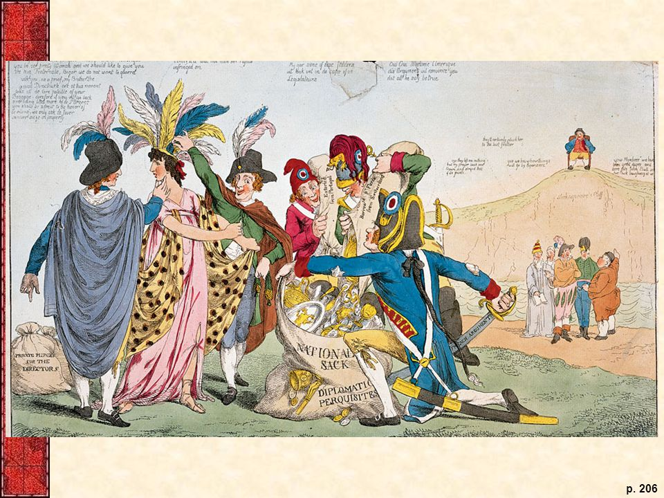 This cartoon drawn during the XYZ affair depicts the United States as a maiden being victimized by the five leaders of the French government's directorate. In the background, John Bull (England) watches from on high, while other European nations discuss the situation.
