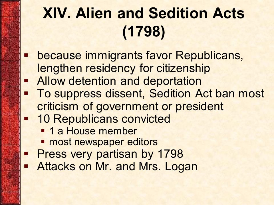 XIV. Alien and Sedition Acts (1798)