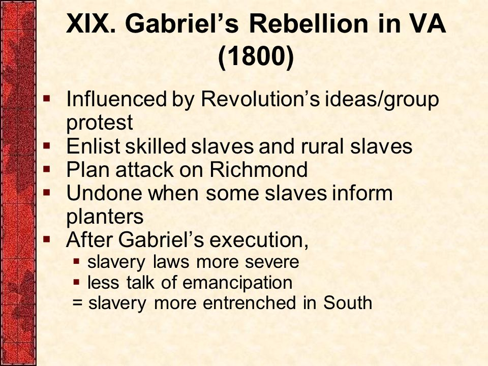 XIX. Gabriel's Rebellion in VA (1800)