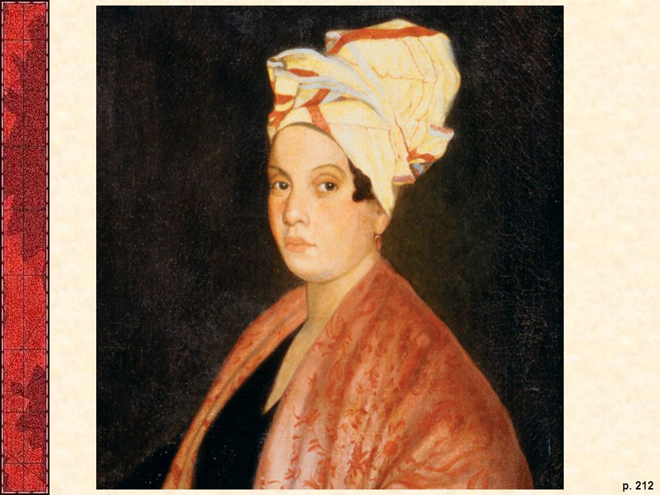 A free woman of color in Louisiana early in the nineteenth century, possibly one of the refugees from Haiti. Esteban Rodriguez Mir, named governor of Spanish Louisiana in 1782, ordered all slave and free black women to wear head wraps rather than hats—which were reserved for whites—but this woman and many others subverted his order by nominally complying, but nevertheless creating elaborate headdresses.