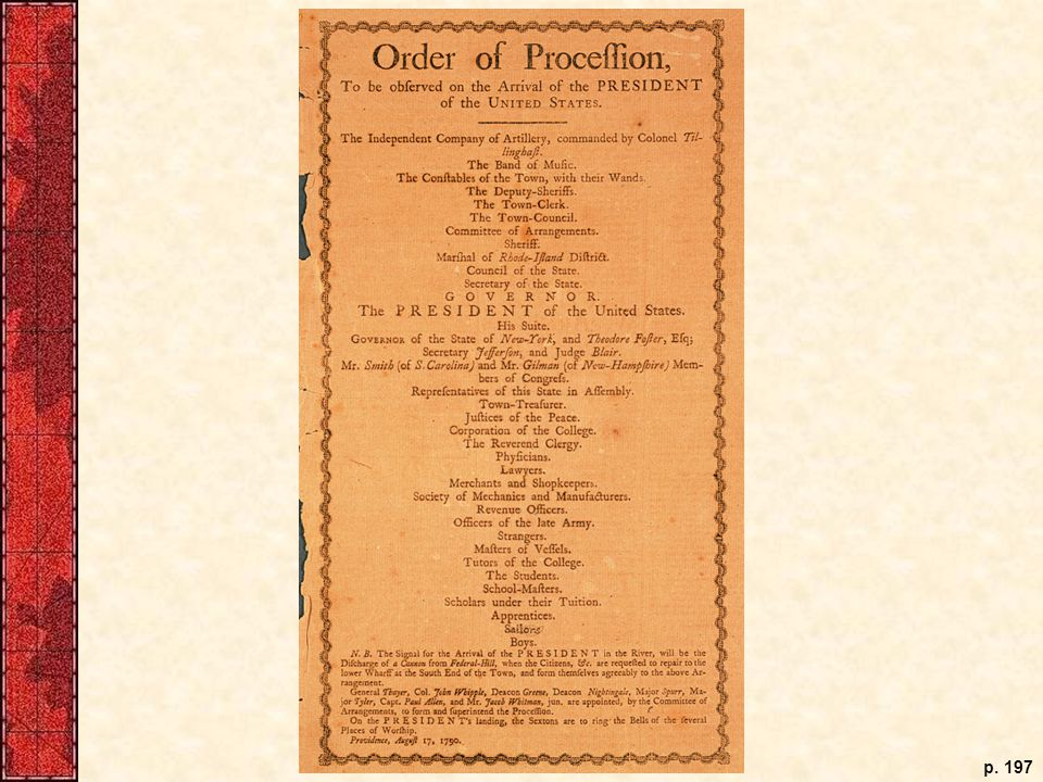When George Washington toured the nation during his first term in office, he was greeted by local leaders in elaborately orchestrated rituals. The organizers of the ceremony at Providence, Rhode Island, on August 17, 1790, issued this broadside to inform participants of their plans for a formal procession. While some Americans gloried in such displays of pomp, others feared they presaged the return of monarchy.