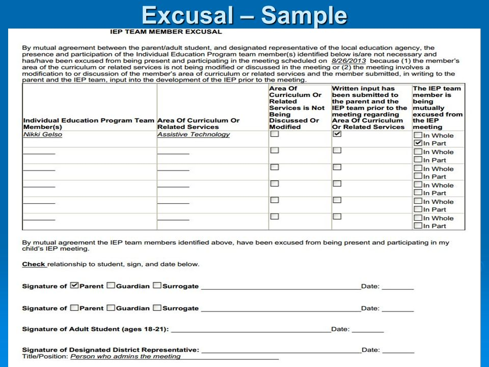 Excusal – Sample