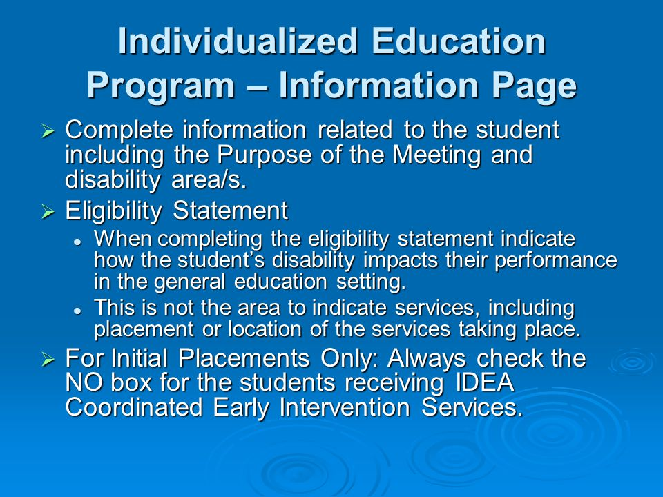 Individualized Education Program – Information Page