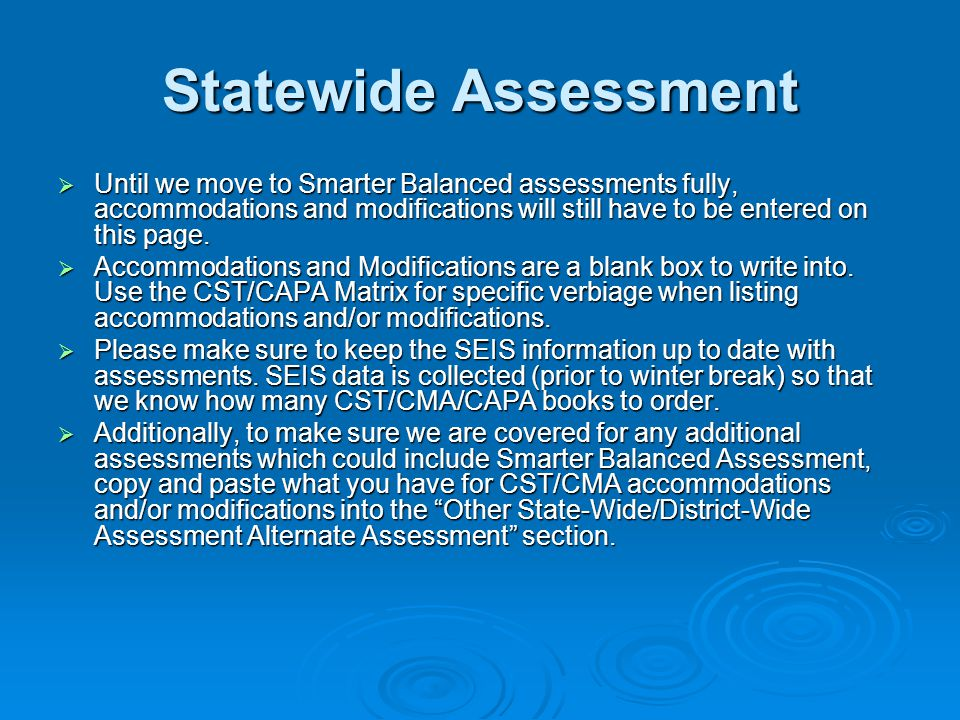 Statewide Assessment