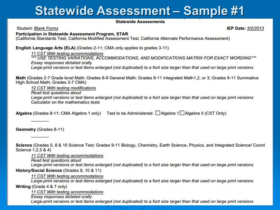 Statewide Assessment – Sample #1