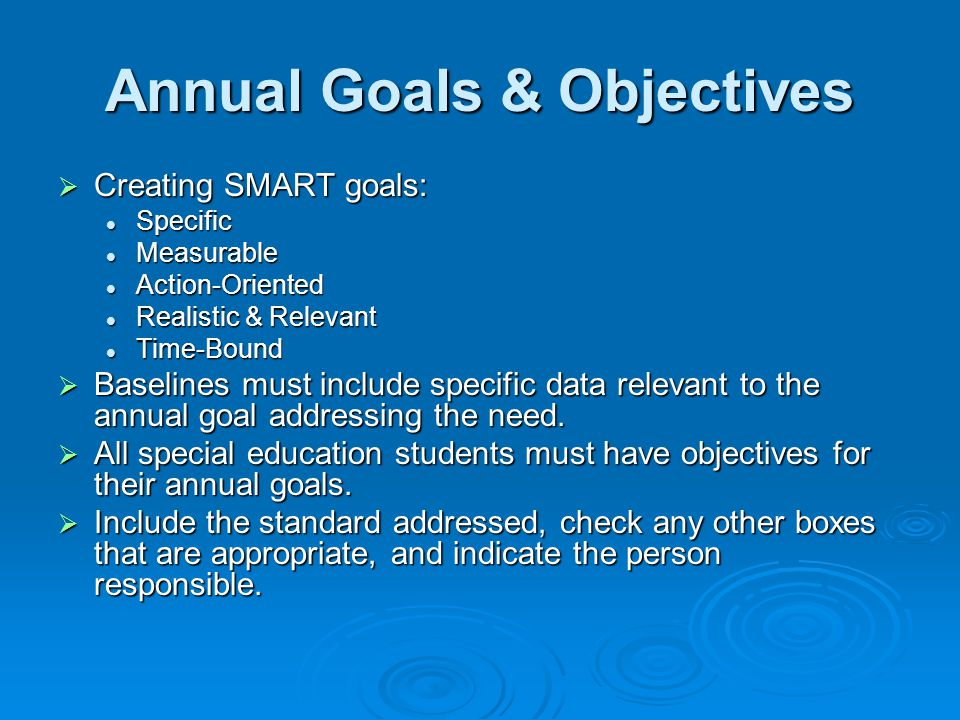 Annual Goals & Objectives
