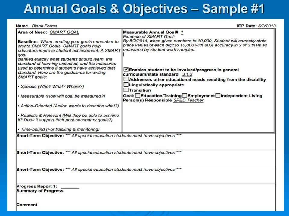 Annual Goals & Objectives – Sample #1