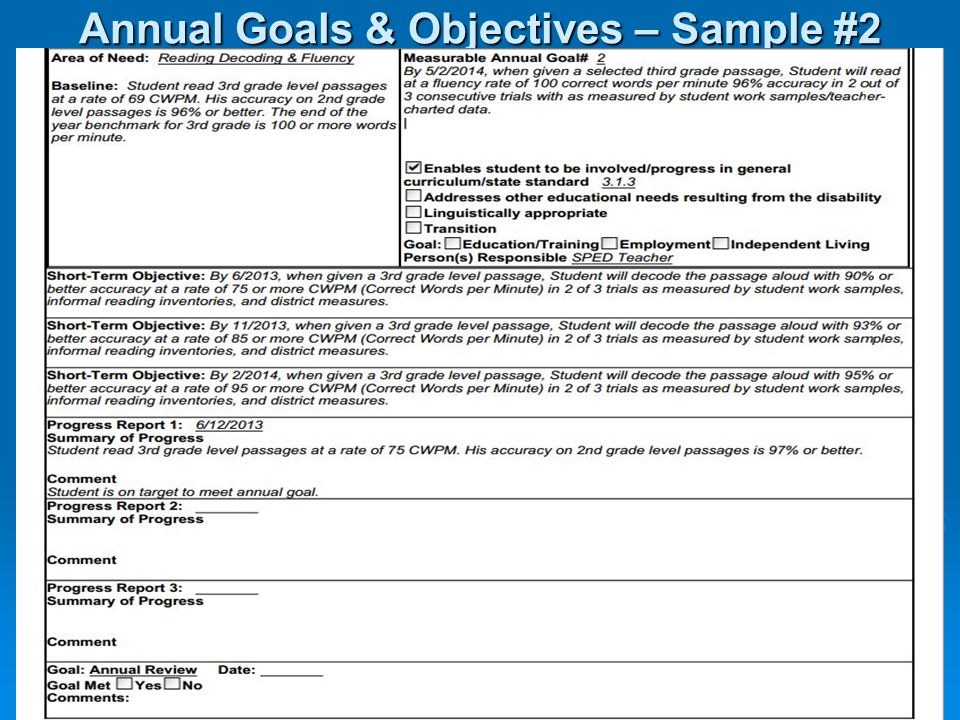 Annual Goals & Objectives – Sample #2