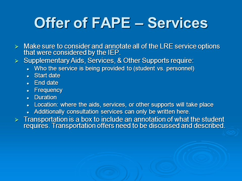 Offer of FAPE – Services