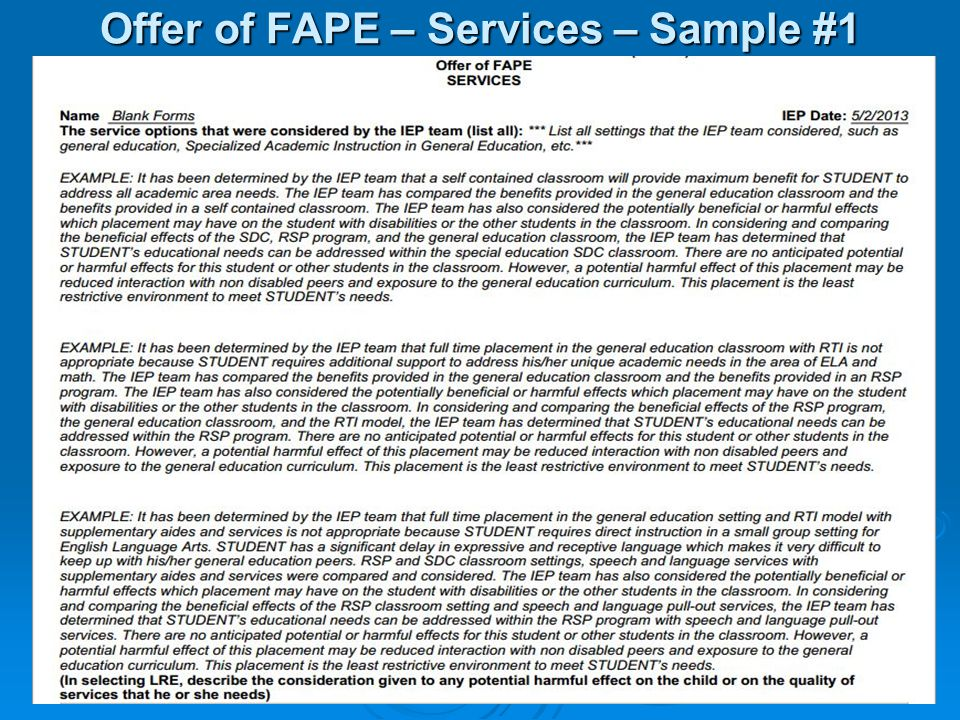 Offer of FAPE – Services – Sample #1