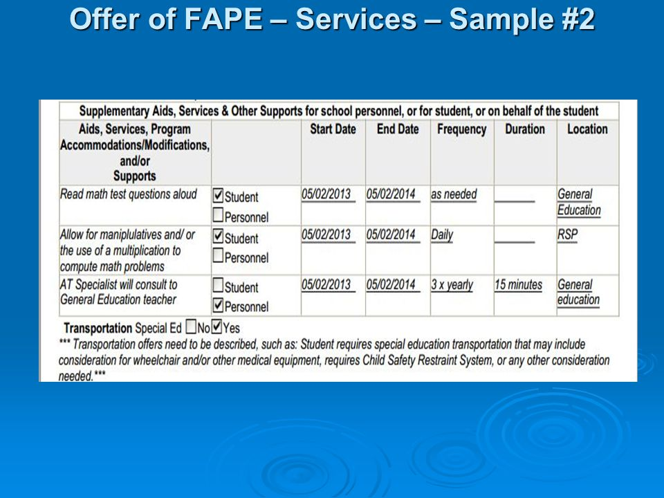Offer of FAPE – Services – Sample #2