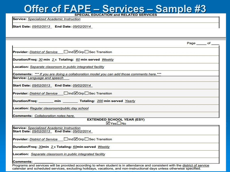Offer of FAPE – Services – Sample #3