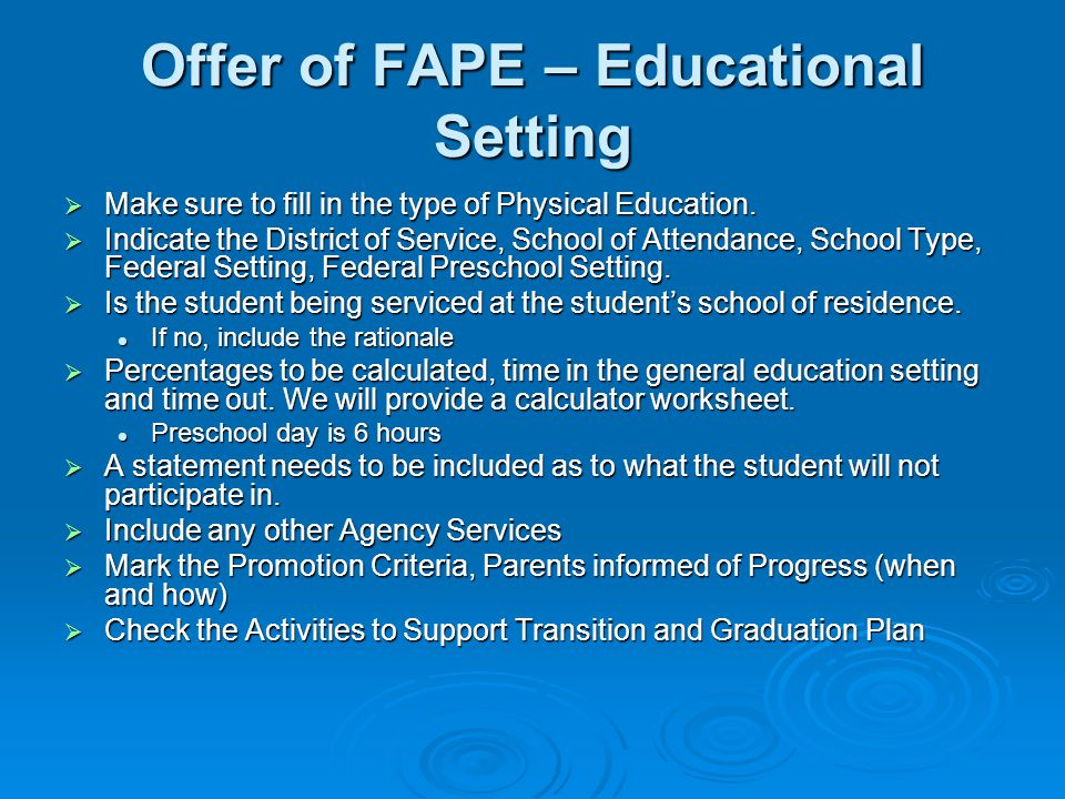 Offer of FAPE – Educational Setting