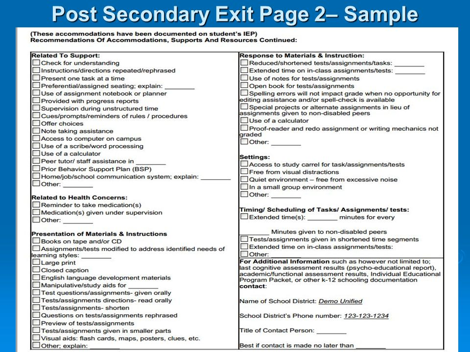 Post Secondary Exit Page 2– Sample