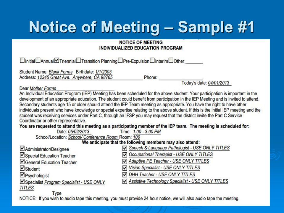 Notice of Meeting – Sample #1