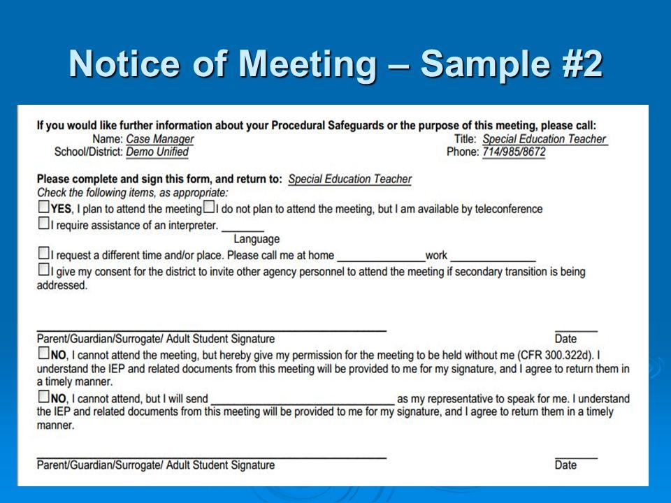 Notice of Meeting – Sample #2