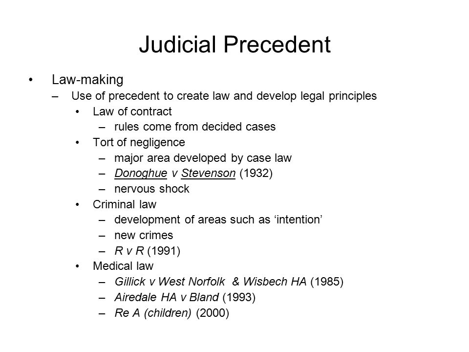 judicial precedent Precedent legal principle, created by a court decision, which provides an example or authority for judges deciding similar issues later generally, decisions of higher courts (within a particular system of courts) are mandatory precedent on lower courts within that system--that is, the principle announced by a higher court must be followed in later cases.