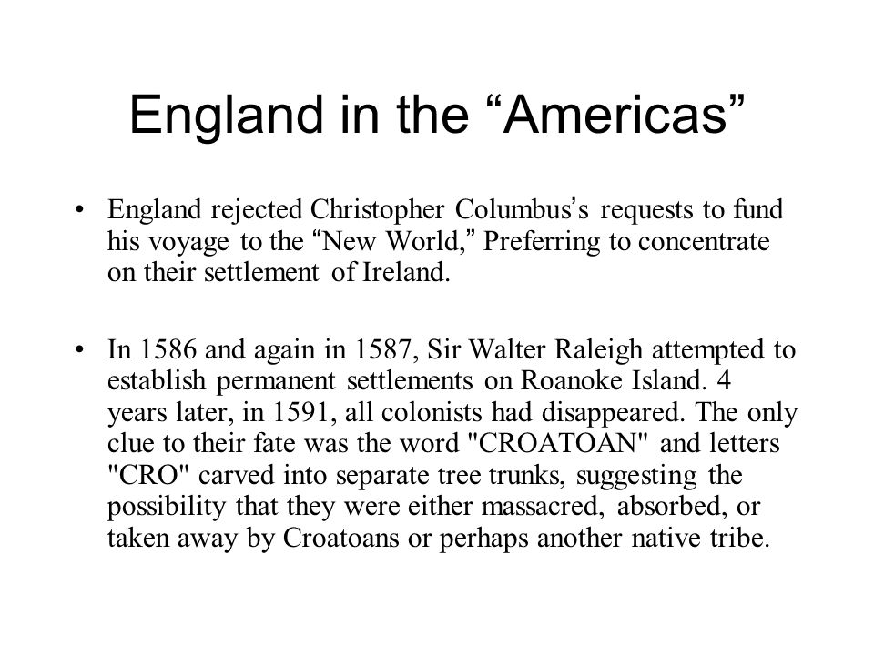 England in the Americas