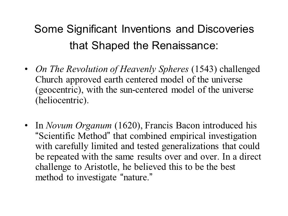 Some Significant Inventions and Discoveries that Shaped the Renaissance: