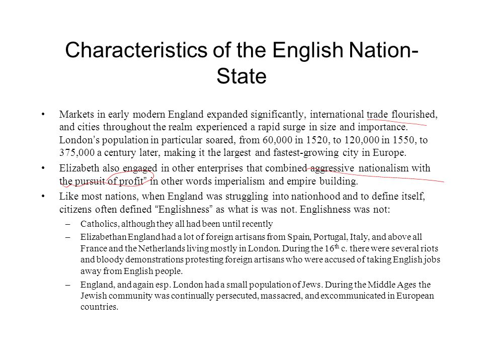 Characteristics of the English Nation-State