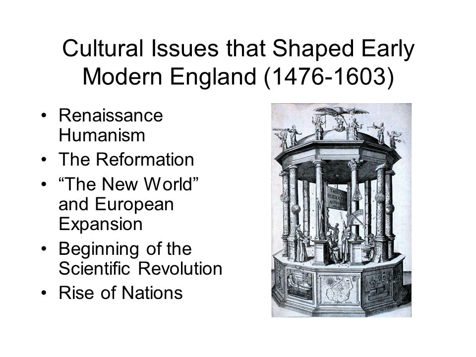 Cultural Issues that Shaped Early Modern England (1476-1603)