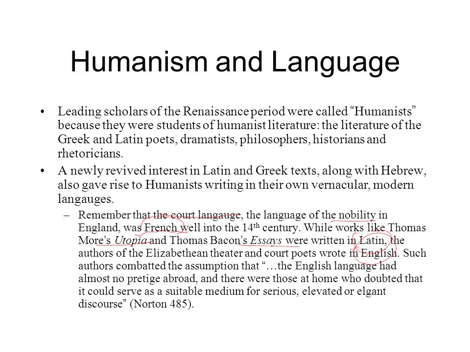 Humanism and Language