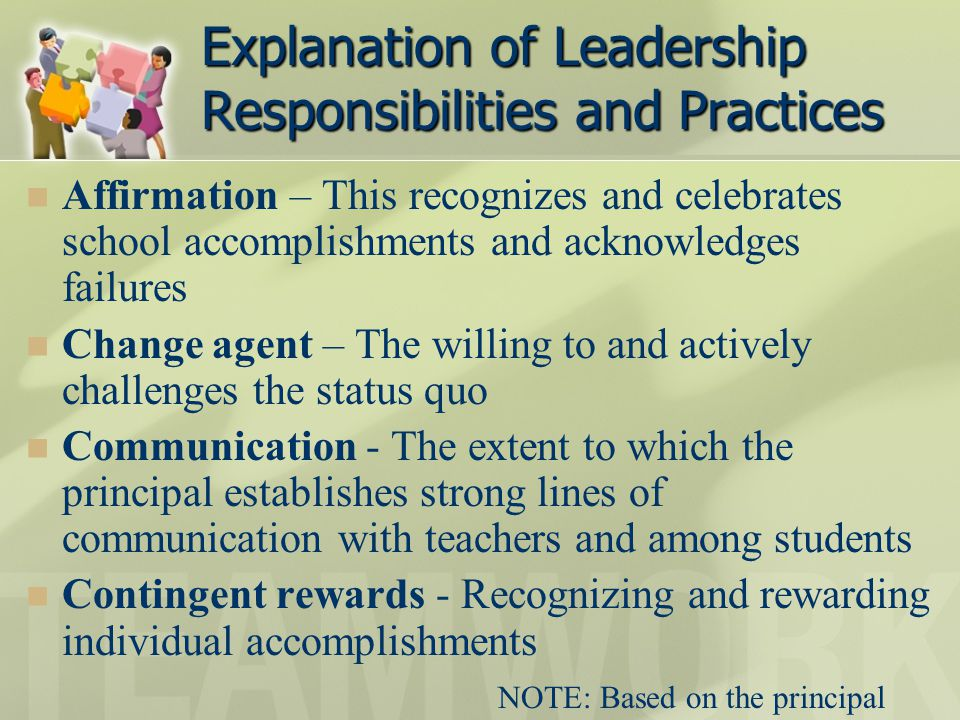 Explanation of Leadership Responsibilities and Practices