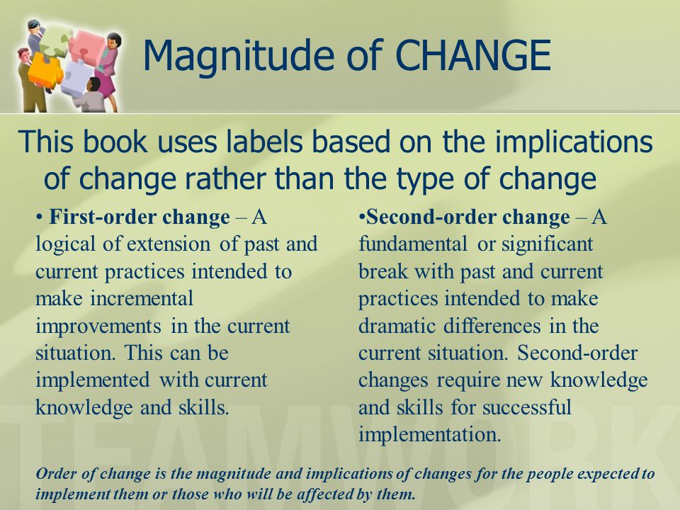 Magnitude of CHANGE This book uses labels based on the implications of change rather than the type of change.
