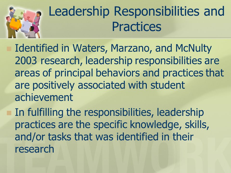 Leadership Responsibilities and Practices