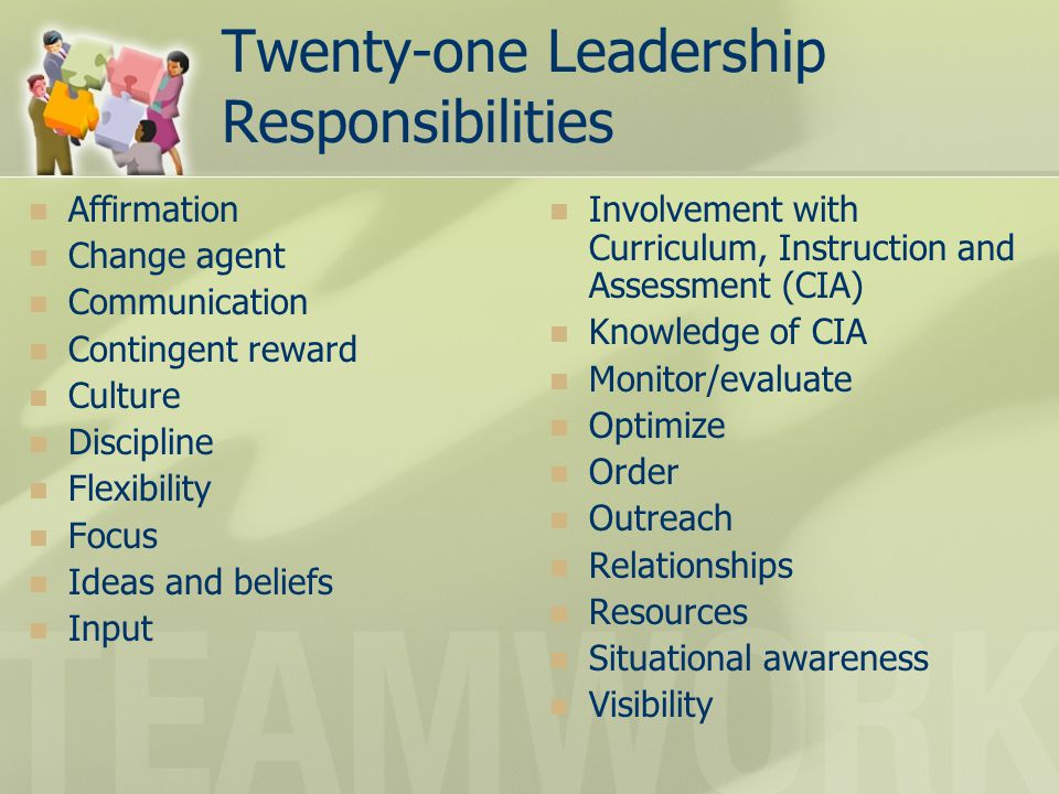 Twenty-one Leadership Responsibilities