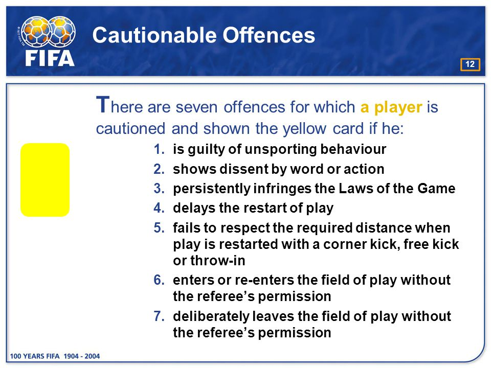 Cautionable Offences There are seven offences for which a player is cautioned and shown the yellow card if he:
